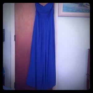 Royal blue chiffon floor length formal dress